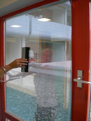 Ausdrücken des Wassers mit Fensterabzieher